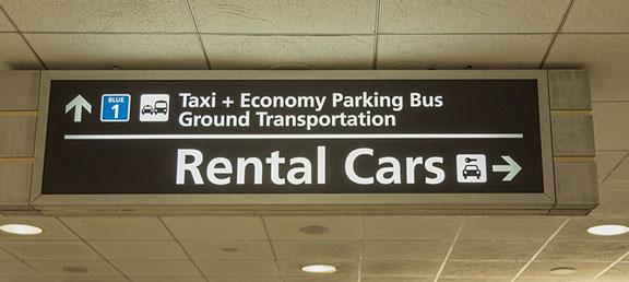 airport rental cars signage