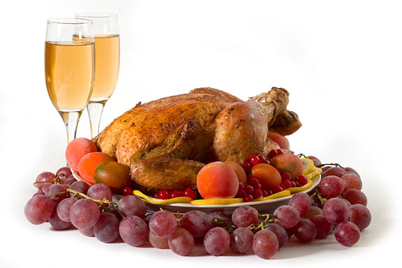 roasted turkey, fruit, and wine