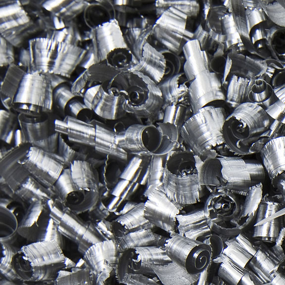 curled-up scrap metal shavings