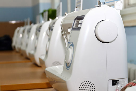 sewing machines in a row