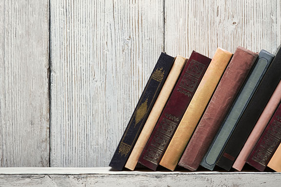 books on a whitewashed shelf