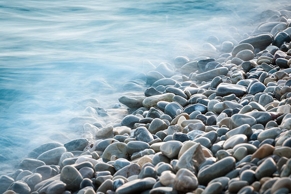 pebbles along the shore