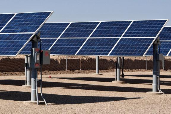 solar panels at a solar energy installation