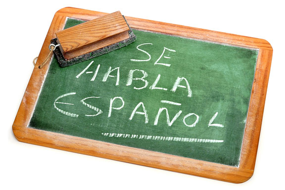 Spanish writing on a chalkboard