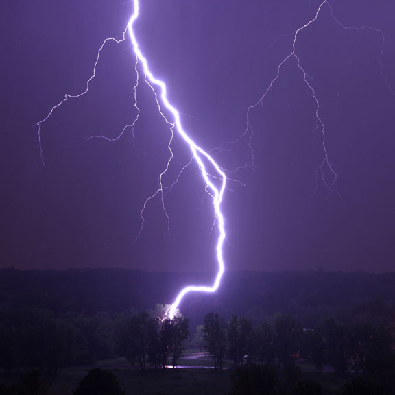 lightning striking a tree