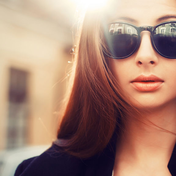 female model wearing sunglasses