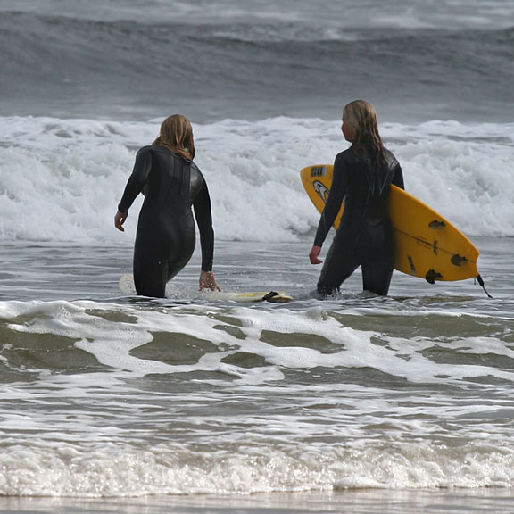 ocean surfers with their surfboards