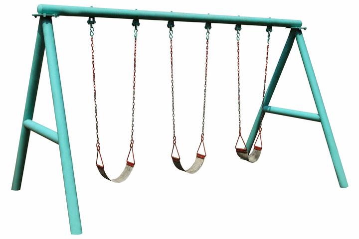 green swing set with three swings