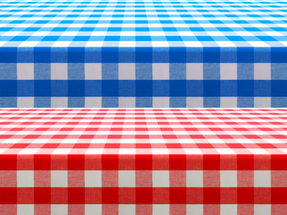 two checked tablecloths