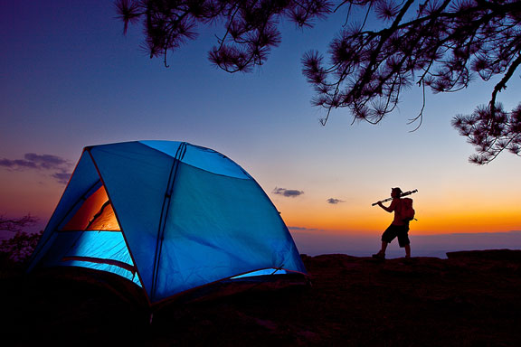 camping tent at sunset