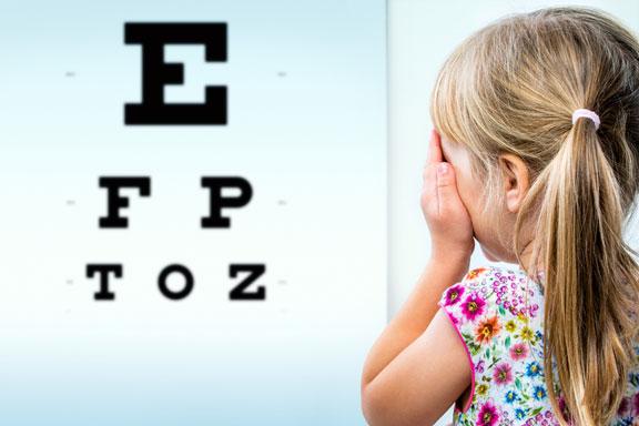 testing eyesight with an eye chart
