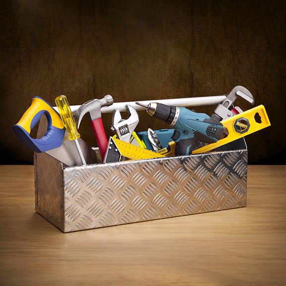 metal box - filled with tools