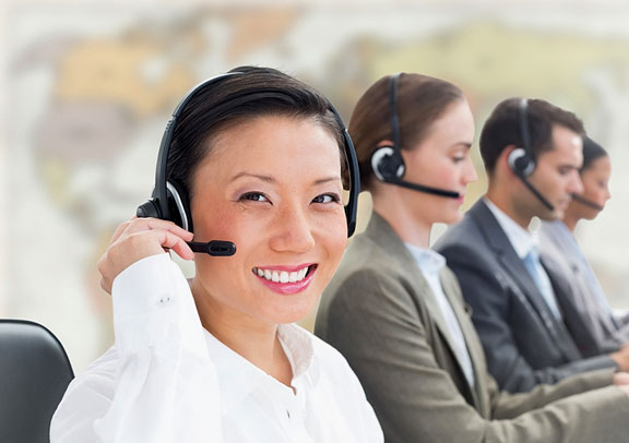 travel agents wearing headsets