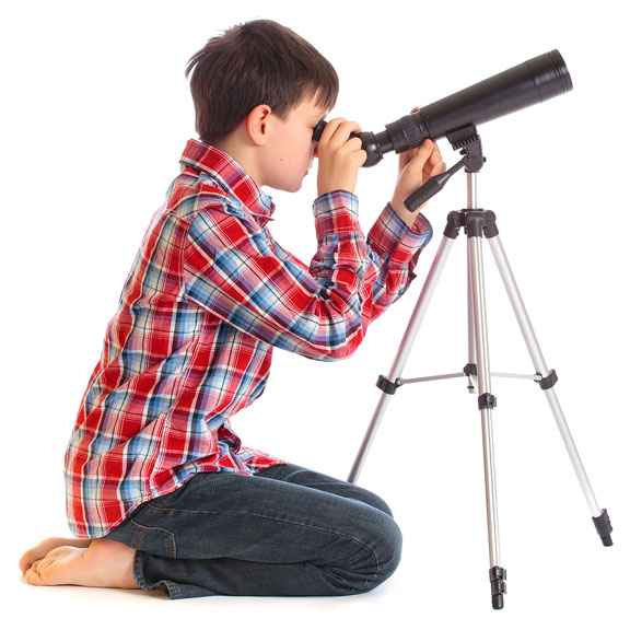boy with telescope and tripod