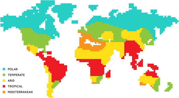 pixelated world map, showing tropical climate zones