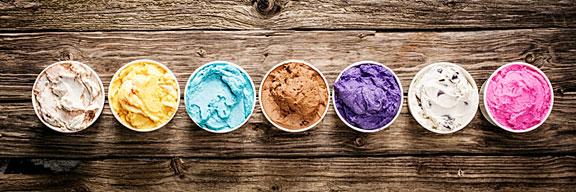 tubs of gourmet ice cream