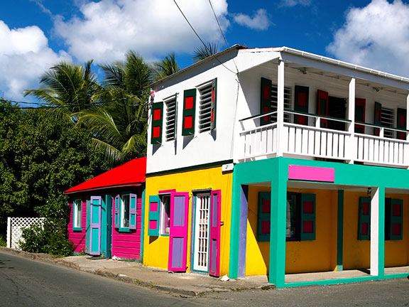 colorful houses in Tortola, BVI