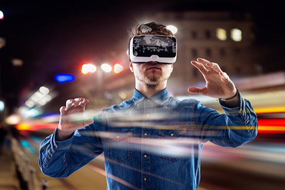 virtual reality goggles and night city - double exposure
