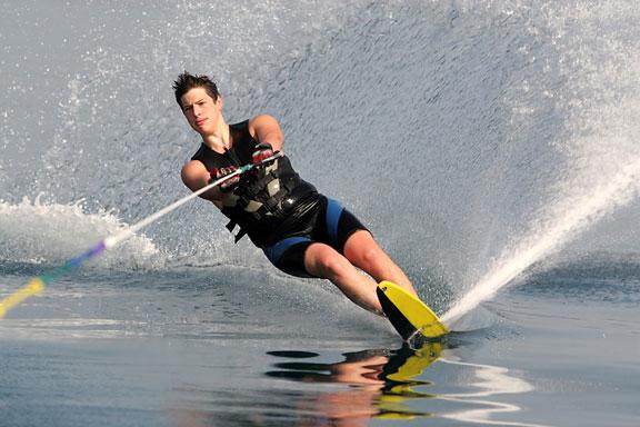 water skiing on a single ski