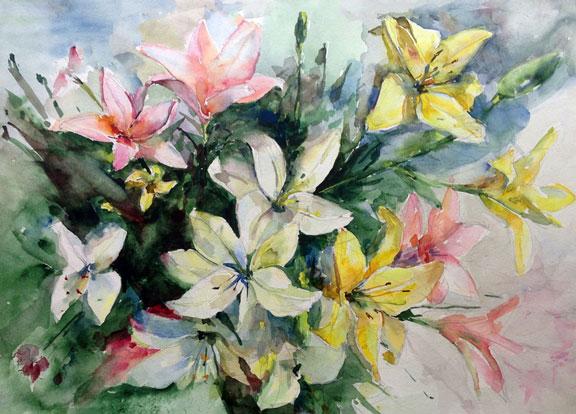 watercolor art - pastel lilies