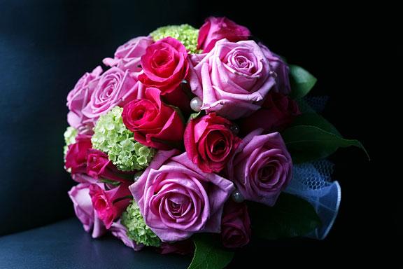 wedding bouquet on a black background
