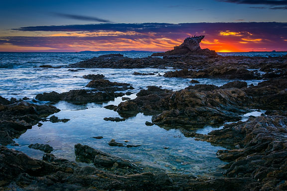 tide pools at sunset along the California coast