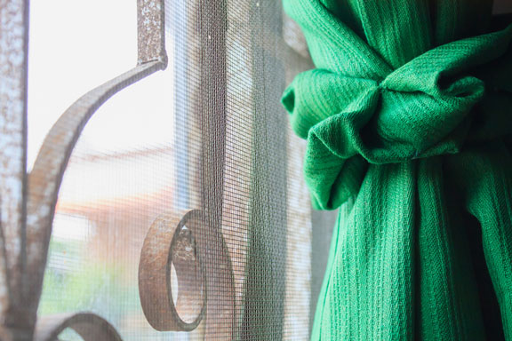 green window curtain