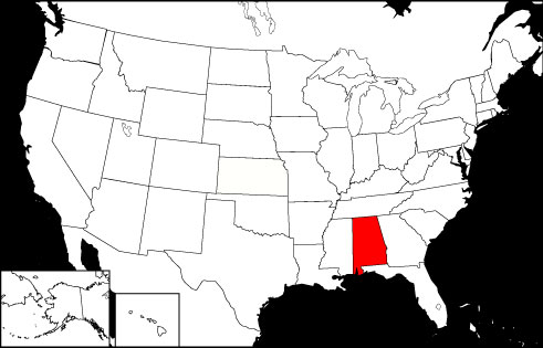 Alabama locator map