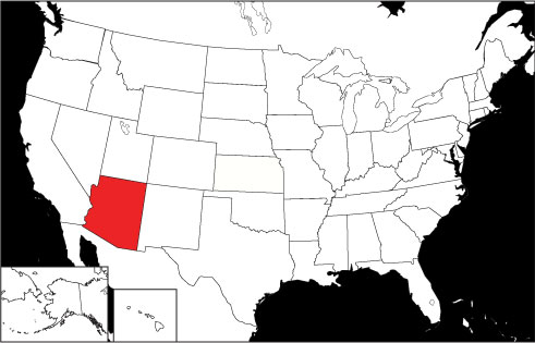 Arizona locator map
