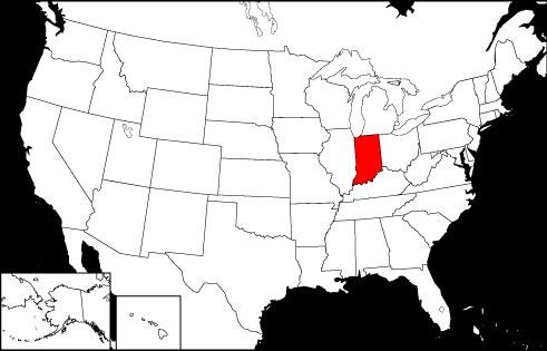 Indiana locator map