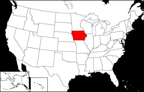 Iowa locator map