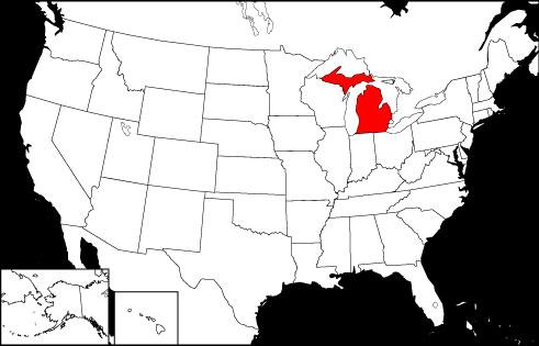 Michigan locator map