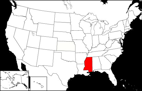 Mississippi locator map