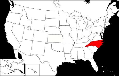 North Carolina locator map
