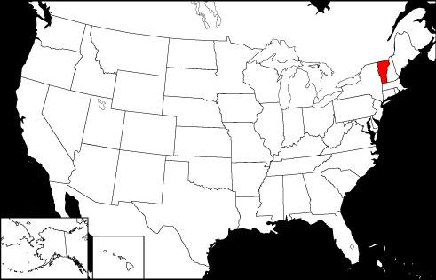 Vermont locator map