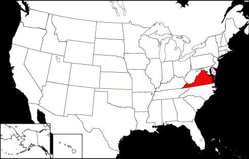 Virginia locator map
